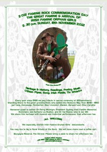 Irish Famine Orphan Girls Ceremony Invitation 2012