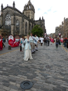 Actors spruiking their shows on the Royal Mile