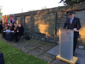 Jeff Kildea giving Anzac address at Grangegorman Military Cemetery (Courtesy Michael Lee)