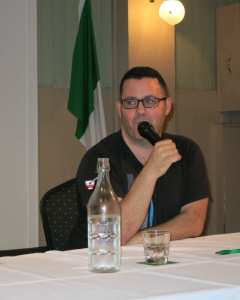 Adrian McKinty Interview at the Celtic Club. Photo by Ronan, Deputy Manager at the Celtic Club.