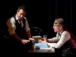 James Joyce (Steve Gome) and Charlie Chaplin (Dan Walls) struggle for ascendancy. Photo by Bernard Peasley.