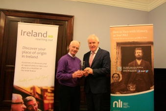 Thomas Hussey and Minister with runner-up Volunteer of Year award