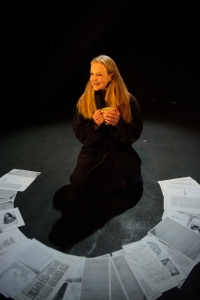 Vanessa O'Neill contemplate the documented past. Photo by Sarah Walker